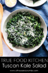 The Tuscan Kale salad from True Food Kitchen is what kale salad dreams are made of! The kale is lightly tossed in a garlic/lemon dressing with just the right amount of tang. #athousandcrumbs #truefoodkitchen #kale #salad #recipe #paleo #whole30 #keto