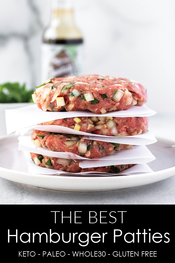These are the most flavorful homemade hamburger patties and I love that they are freezer friendly! #athousandcrumbs #hamburgerpatties #freezerfriendly #whole30 #paleo #keto