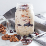 An easy gluten-free and dairy-free overnight oat recipe full of crunchy toasted almonds and dried tart cherries. The perfect breakfast to have ready for busy mornings. #athousandcrumbs #tartcherry #driedcherries #overnightoats #almond #glutenfree #breakfast #dairyfree