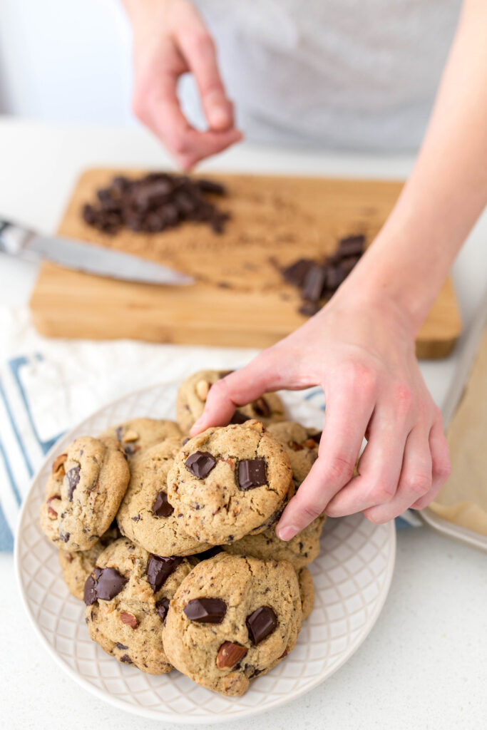 Dark Chocolate Chunk Almond Cookies - Hand