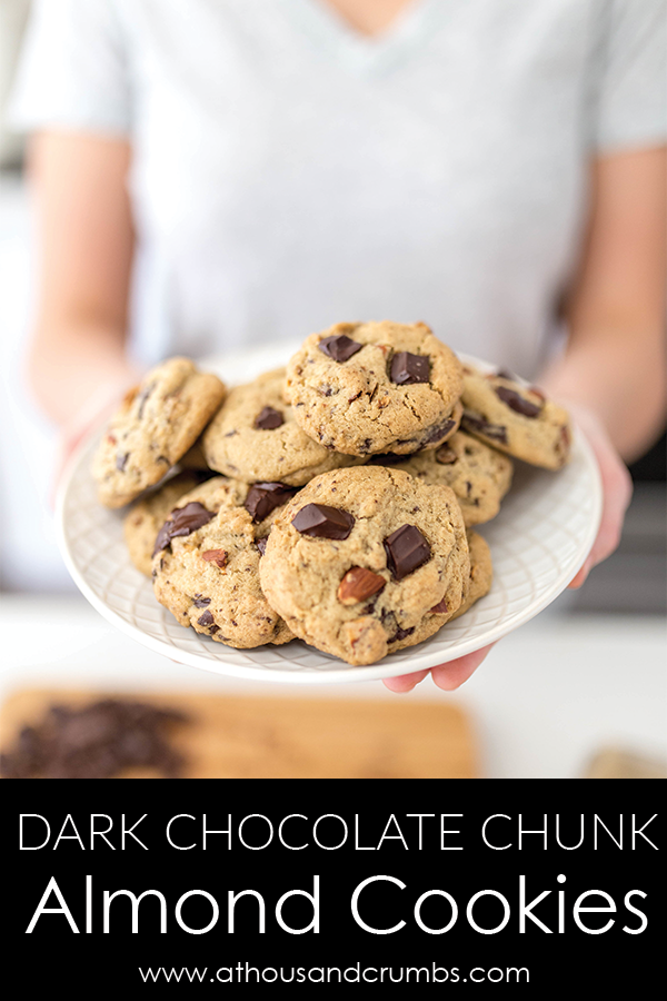 Dark Chocolate Chunk Almond Cookies
