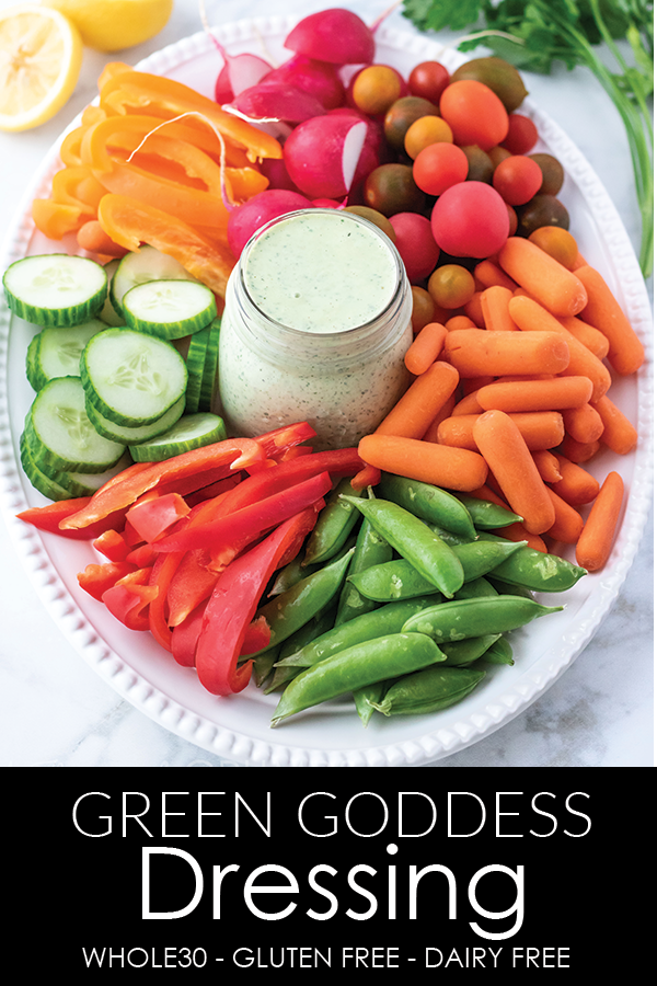 This #whole30 approved green goddess dressing is tangy, full of fresh herbs, and great as a dip or drizzled on a salad. #athousandcrumbs #greengoddessdressing #whole30approved #saladdressing