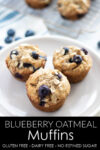 Delicious and fluffy gluten-free muffins, studded with fresh blueberries. Refined sugar free, gluten-free, and dairy-free. #athousandcrumbs #glutenfree #muffins #blueberrymuffins #refinedsugarfree #dairyfree