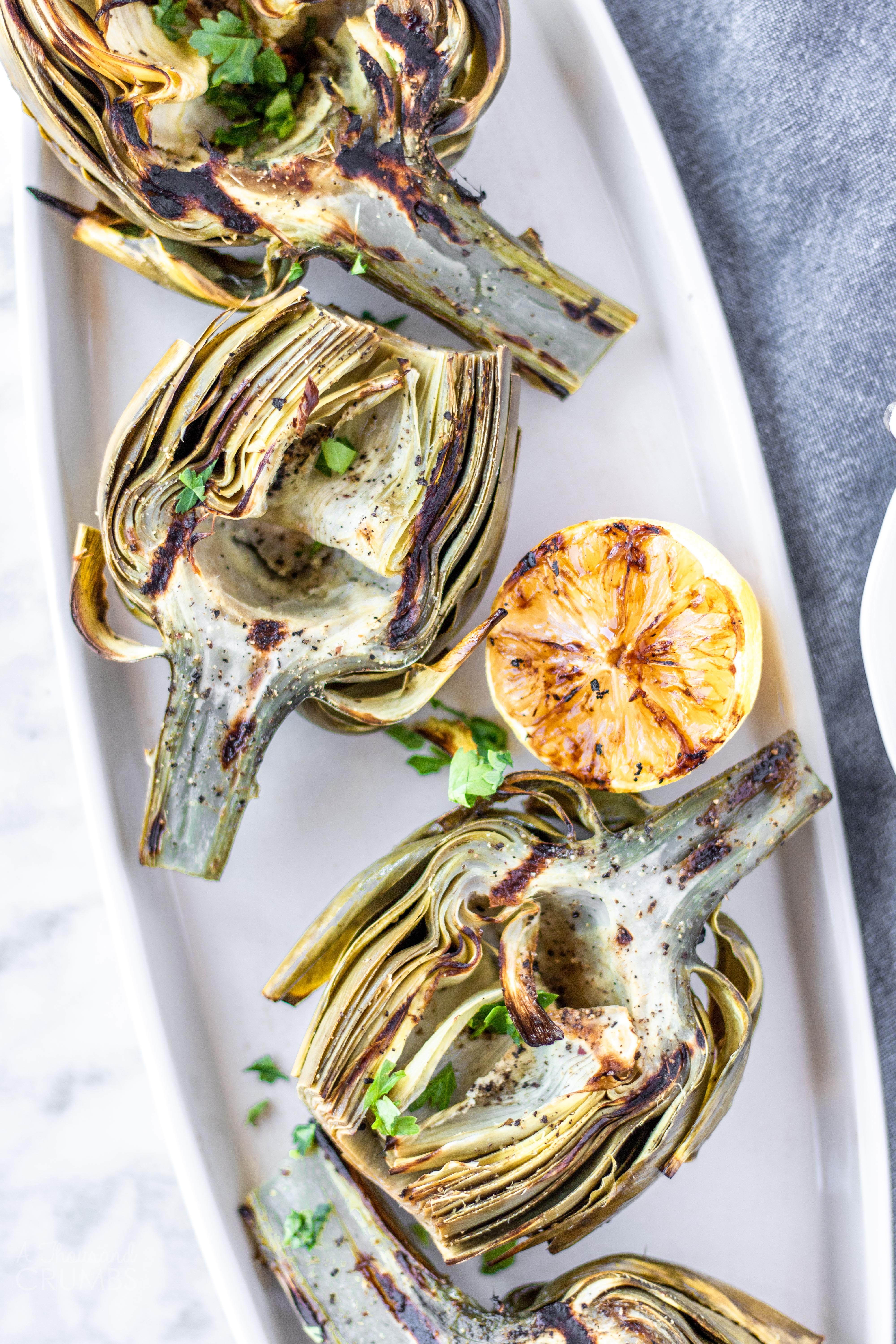 Grilled Artichokes With Lemon Aioli A Thousand Crumbs