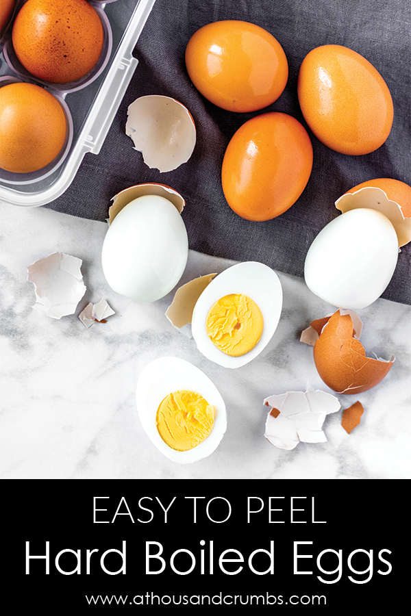 Easy to peel hard boiled eggs 2 ways – with and without an Instant Pot. #athousandcrumbs #hardboiledeggs #instantpot #easypeel #stovetop