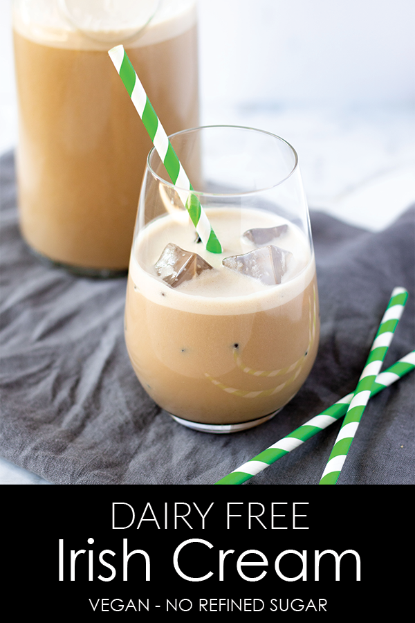 A healthy alternative to traditional store-bought Irish cream, this recipe has no fillers and no refined sugar. It is the perfect dairy-free Irish cream recipe that is just as delicious over ice as it is in your favorite coffee beverage. #athousandcrumbs #irishcream #dairyfree #paleo #vegan #stpatricksdayrecipe