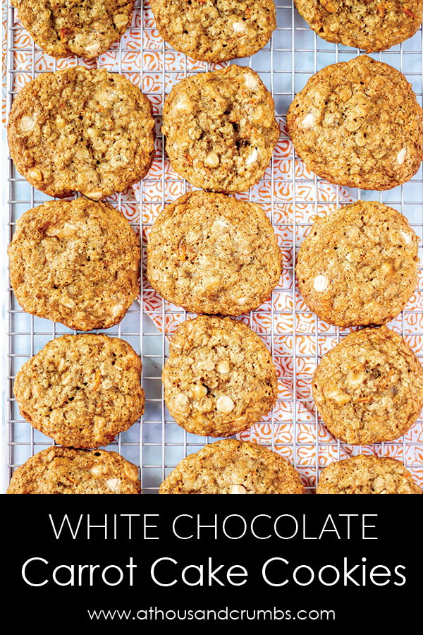 All the flavors you love about carrot cake, in a convenient cookie, studded with white chocolate chips. #athousandcrumbs #carrotcake #cookies #whitechocolate #springdessert #easter