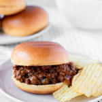 A healthier take on a beloved classic, these are the best homemade sloppy joes. #athousandcrumbs #sloppyjoes #recipe #homemade #summer #easy #dairyfree